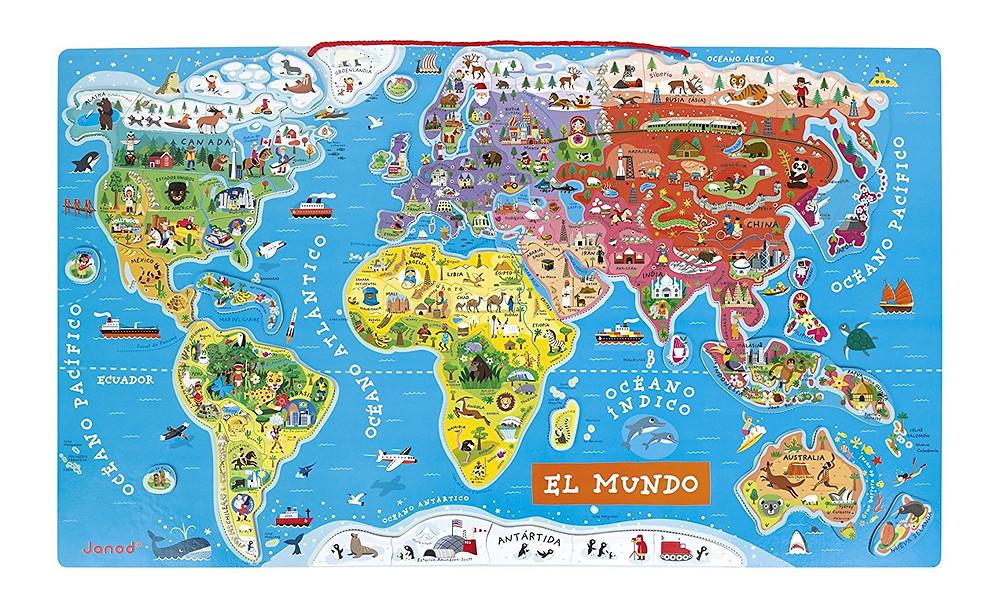 puzzle magnético del mundo, atlas de niños