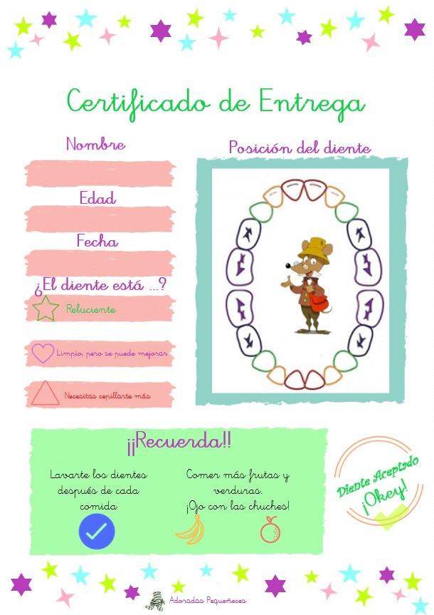 Certificado de Entrega de diente de leche, Raton Perez