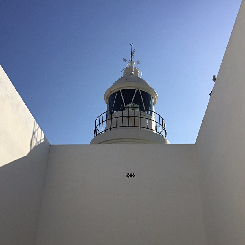 Inside the lighthouse building