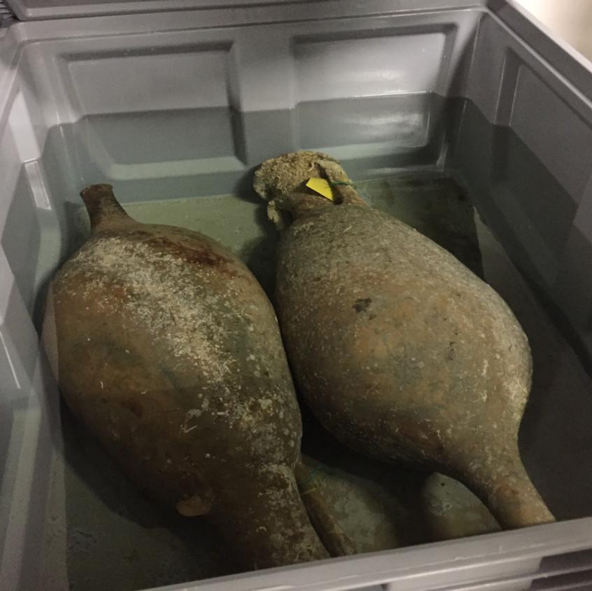 Amphorae undergoing restoration