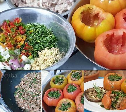 Tomates rellenos de pollo al Jegibre (tomates farcies au poulet et gingembre)