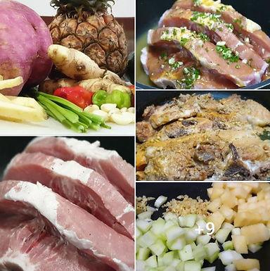 Porc rôti dans une casserole avec sauce aigre-douce