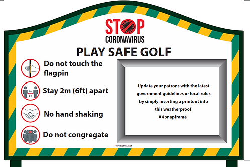 Covid Golf Info Snap Frame Sign