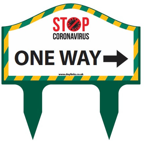Covid Twin Spike Golf Etiquette Sign  ONE WAY