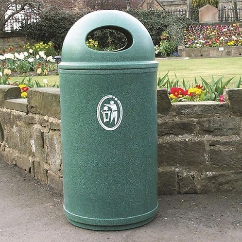 Classic Litter Bin Emerald Green Speckled with logo