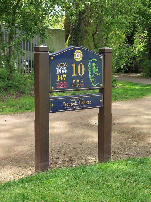 Tee Sign Iroko Hardwood Cast Granite