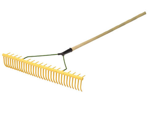 "32p Yellow Maintenance Rake 72"" Hardwood Handle"