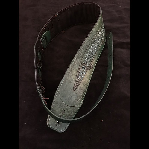 Hannah Guitars Custom Leather Guitar Strap -Northern Pike -Green finish