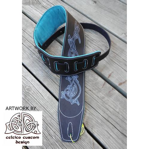 Custom Leather Guitar Strap - Celtic Dragon - Black finish