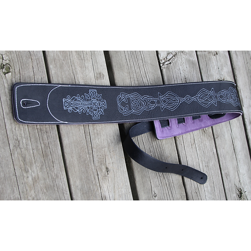 Custom Leather Guitar Strap -Celtic Cross & Knot - White on Black