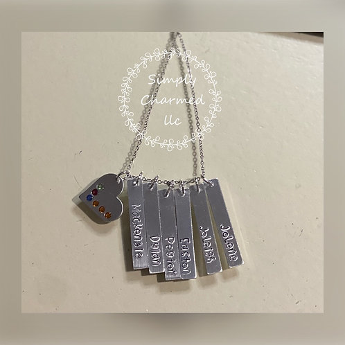 Bar & Heart Personalized Necklace
