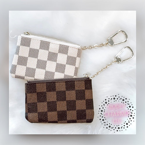 Checkered Coin Purse with Keychain
