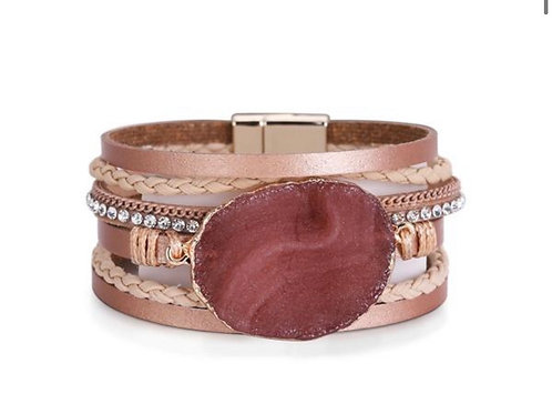 Crystal Stone Layered Leather Bracelet