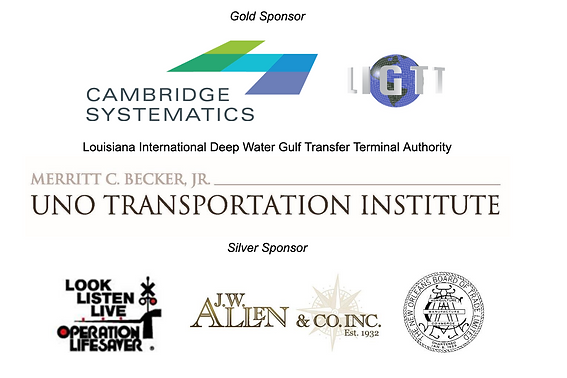 Conference sponsor logos. Gold sponsors are Cambridge Systematics, the Louisiana International Deep Water Gulf Transfer Terminal Authority, and the Merritt C. Becker Jr. Uno Transportation Institute. Silver sponsors are Operation Lifesaver, J.W. Allen & Co Inc., and the New Orleans Board of Trade Limited.