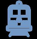 Train on rail track icon