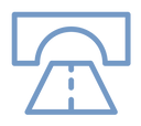 Infrastructure icon showing road and bridge