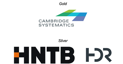 Conference sponsor logos. Gold sponsors are Cambridge Systematics. Silver sponsors are HNTB and HDR.