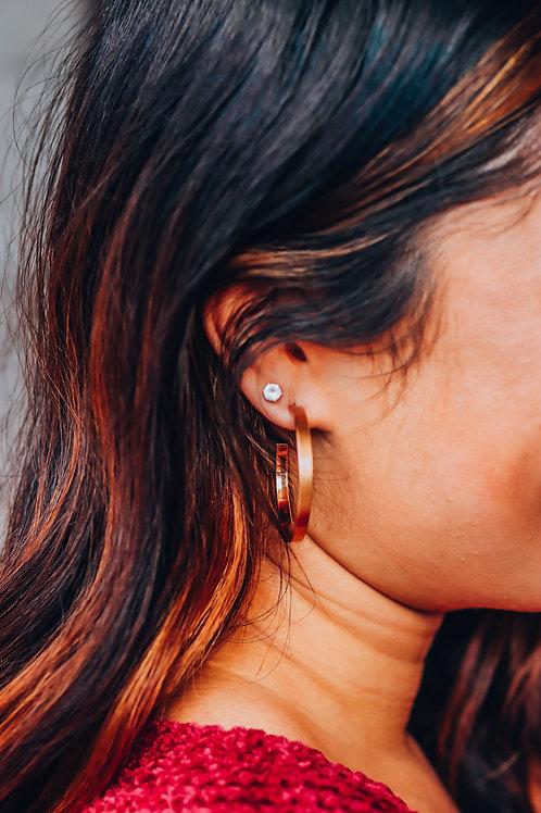 Flat Metallic Hoop Earrings