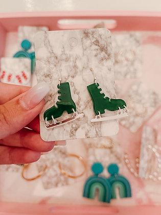 Acrylic Ice Skate Dangle Earrings