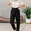Thumbnail: Black Paper Bag Elastic Waistband Casual Pants