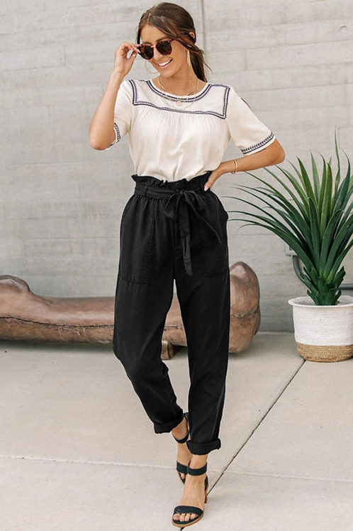 Black Paper Bag Elastic Waistband Casual Pants