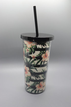 Tropical Florals Tumbler with Straw