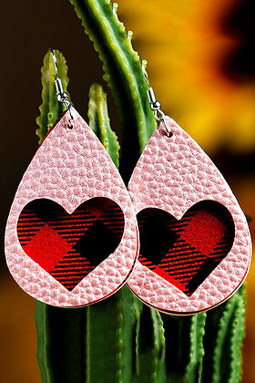 Pink and Red Plaid Earrings