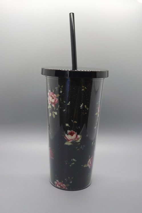 Vintage Florals Tumbler with Straw