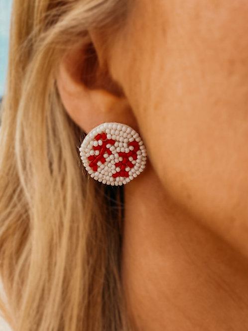Beaded Baseball Stud Earrings