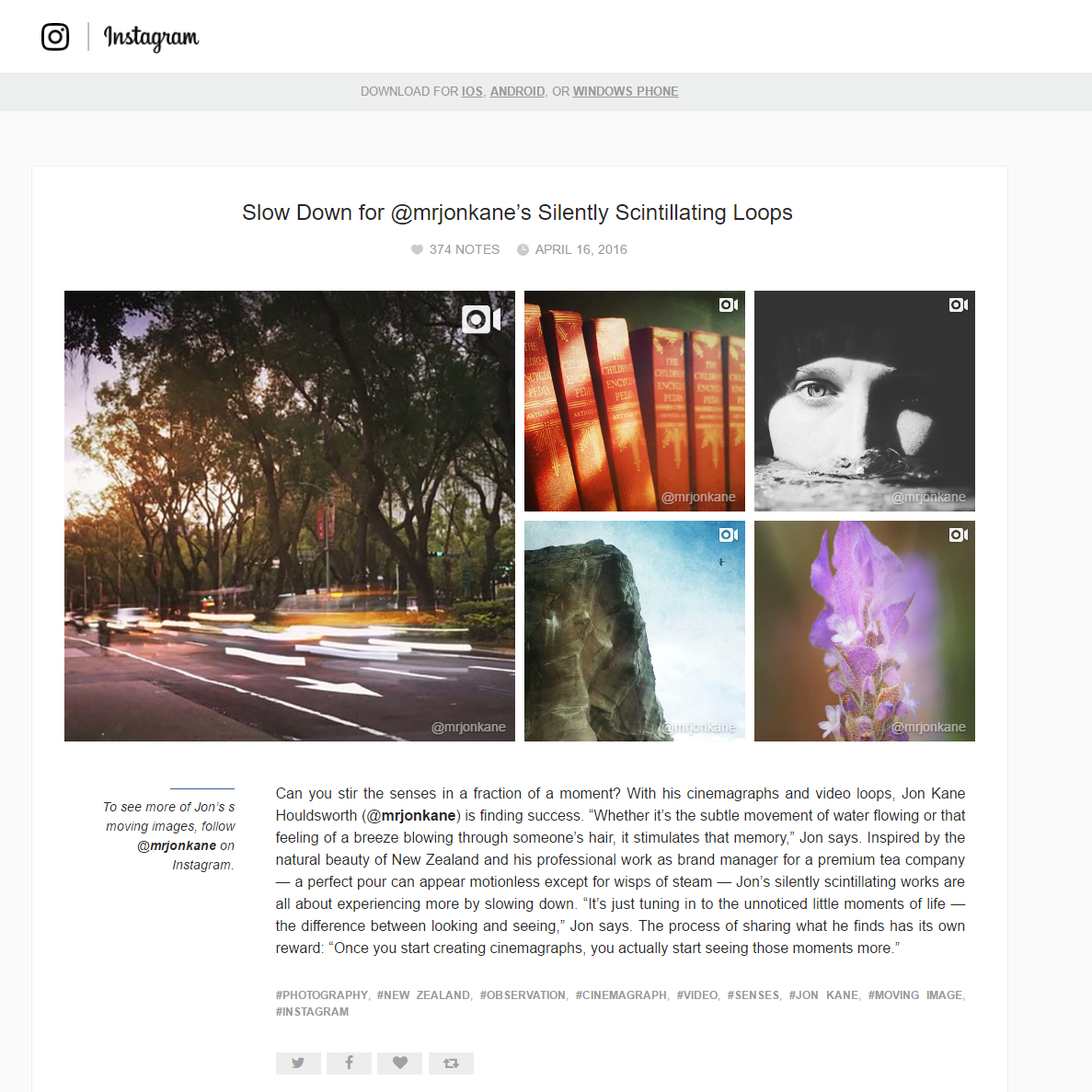 Instagram Blog Feature
