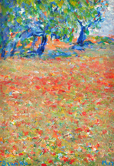 Branko - landscape with trees and Poppies
