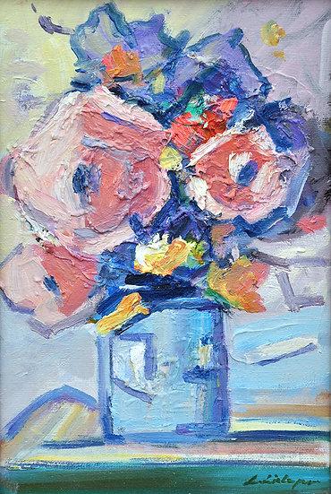 Blumenbild in Öl