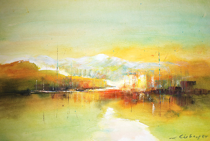 Art Impression - lake & mountain, evening sun