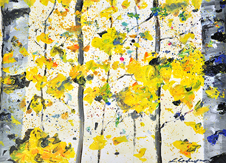 Art234 Birches with yellow leaves