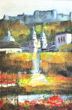 Mixed Media Art - Salzburg Mirabellgarden