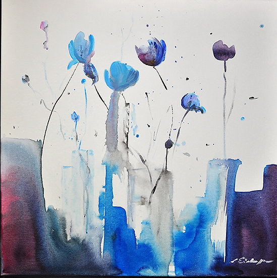 blue flowers on canvas