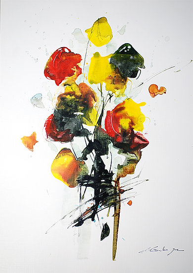 modern flowers in black, yellow & red