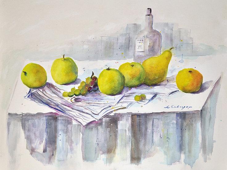 still life apples & grapes