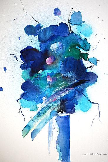 modern flowers in blue I