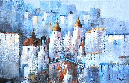 Mixed Media Art - Salzburg blue