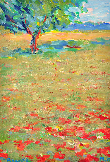 Branko - landscape with one tree and red flowers