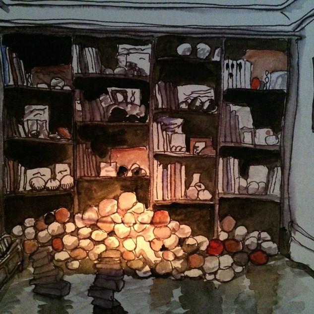 Les Eblouis. Chambre de la bibliothèque.