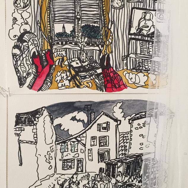 Chambre, serie Le Village, encre et aqua