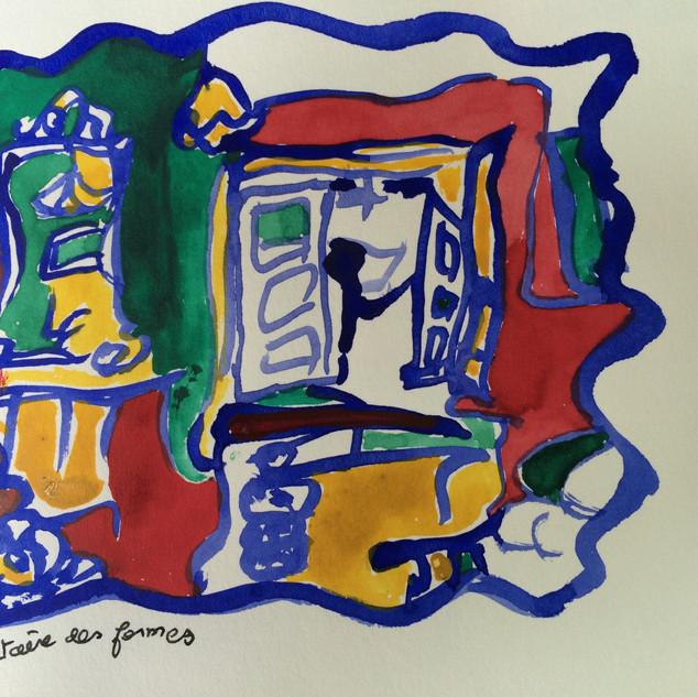 Chambre, aquarelle (série Bretagne)