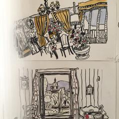 Chambre, série Le Village, encre et aqua