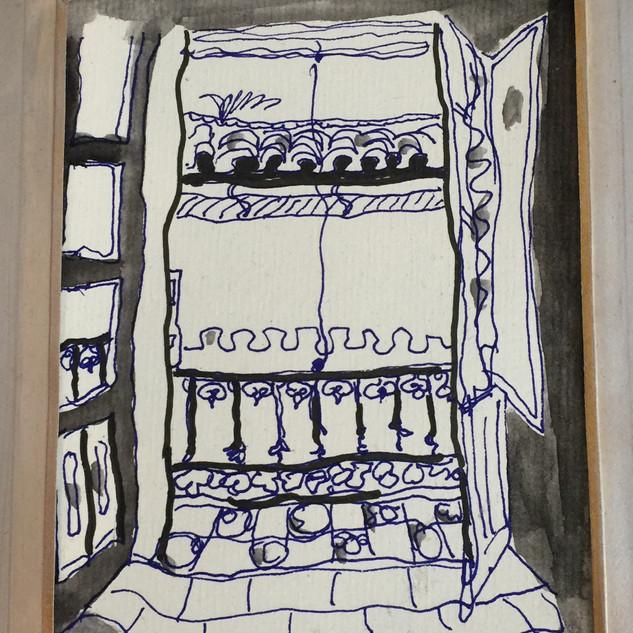Chambre, encre et aquarelle sur papier (