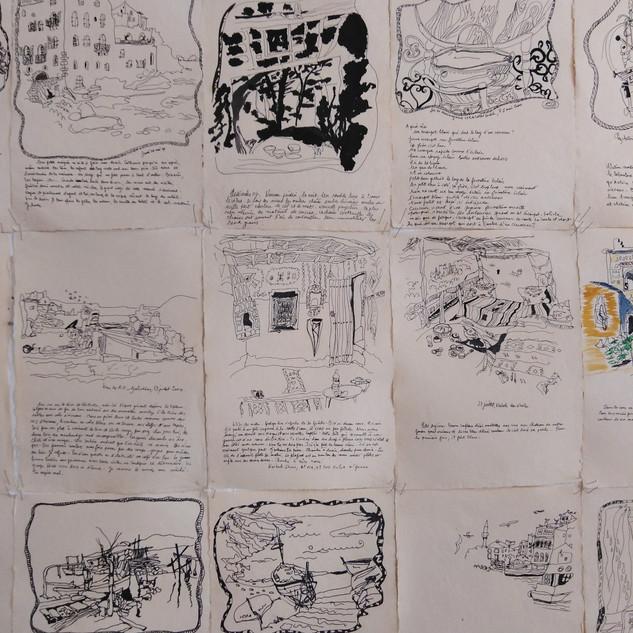Chambres, fresque murale, carnet d'écrit