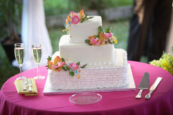 Pink and bright wedding cake