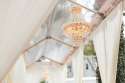 Wedding clear tent and chandelier