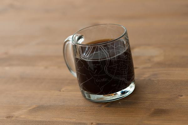uncommon green custom glass etched coffee mug austin
